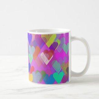 Floating Rainbow Hearts Coffee Mugs