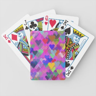 Floating Rainbow Hearts Playing Cards