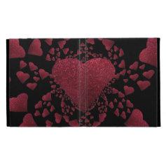 Floating Red Hearts A Glitter Caseable iPad Folio iPad Case