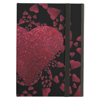 Floating Red Hearts A Glitter Powis iPad Case