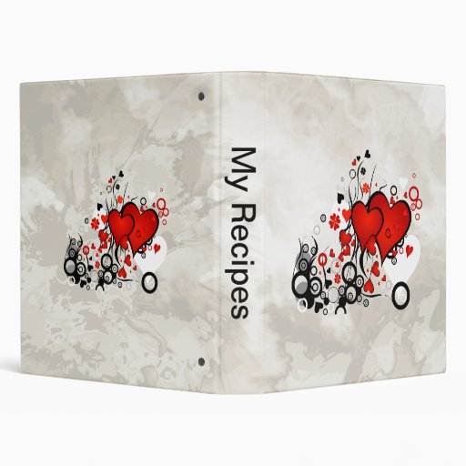 Floating Red Hearts Binders
