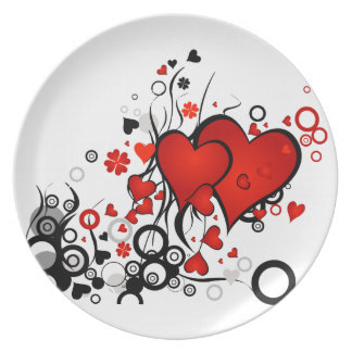 Floating Red Hearts Dinner Plate
