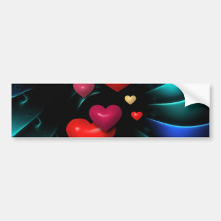 Floating Red Hearts Spiral Art Bumper Stickers