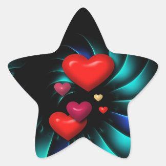Floating Red Hearts Spiral Art Star Sticker
