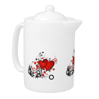 Floating Red Hearts Teapot