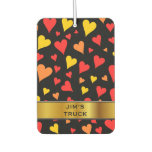 [ Thumbnail: Floating Red, Orange and Yellow Hearts Pattern Air Freshener ]