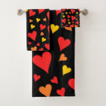 [ Thumbnail: Floating Red, Orange and Yellow Hearts Pattern Bath Towel Set ]