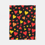 [ Thumbnail: Floating Red, Orange and Yellow Hearts Pattern Fleece Blanket ]