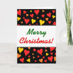 [ Thumbnail: Floating Red, Orange and Yellow Hearts Pattern Card ]