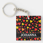 [ Thumbnail: Floating Red, Orange and Yellow Hearts Pattern Keychain ]