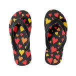 [ Thumbnail: Floating Red, Orange and Yellow Hearts Pattern Flip Flops ]