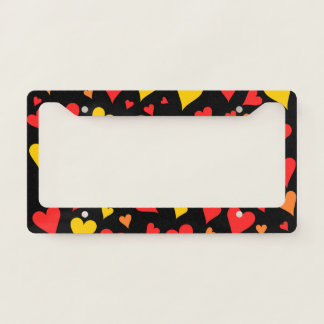 Floating Red, Orange and Yellow Hearts Pattern License Plate Frame