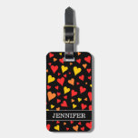 [ Thumbnail: Floating Red, Orange and Yellow Hearts Pattern Luggage Tag ]