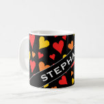 [ Thumbnail: Floating Red, Orange and Yellow Hearts Pattern Mug ]