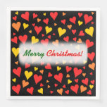 [ Thumbnail: Floating Red, Orange and Yellow Hearts Pattern Napkins ]