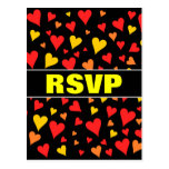 [ Thumbnail: Floating Red, Orange and Yellow Hearts Pattern Postcard ]