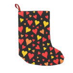 [ Thumbnail: Floating Red, Orange and Yellow Hearts Pattern Christmas Stocking ]