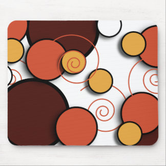 Floating Retro Circles Rust and Brown Mouse Pad