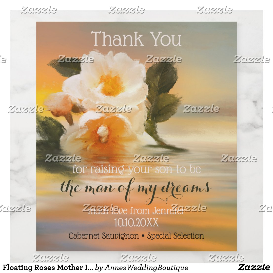 Floating Roses Mother In Law Wedding Wine Label