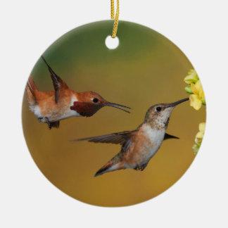 Floating Rufous Hummingbird Ceramic Ornament