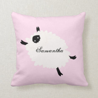 Floating Sheep Name & Message square pink pillow