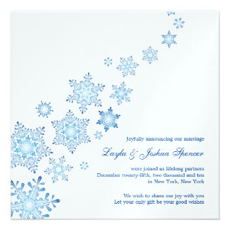 Floating Snowflakes Wedding Announcement Card