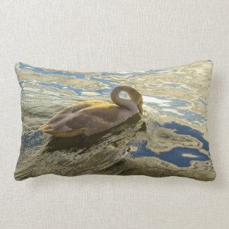 floating swan Throw pillow