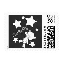 Floating Teddy Bear & Stars First Birthday Stamp