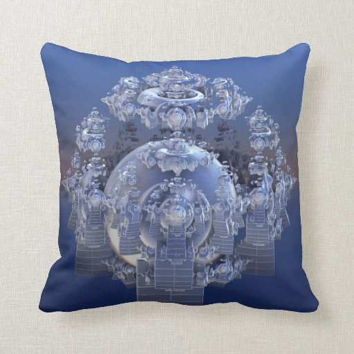 Floating Temple Fractal Throw Pillow