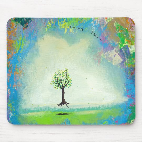 Floating tree colorful modern art In Motion Simple Mouse Pad