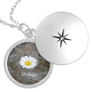 Floating White Daisy And Name Silver Plated Necklace