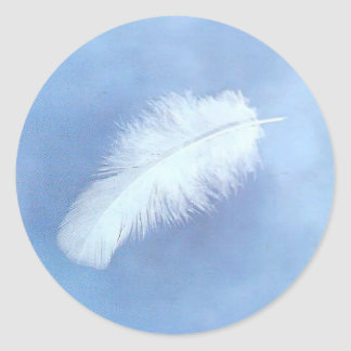 Floating white feather Sticker's Classic Round Sticker