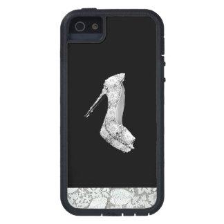 FLOATING WHITE LACE HI HEELED SHOE ON BLACK iPhone 5 COVERS