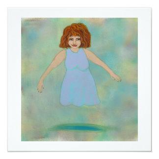 Floating woman odd strange outsider brut folk art card