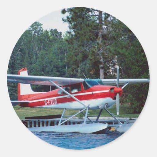 Floatplane de Cessna Pegatina Redonda