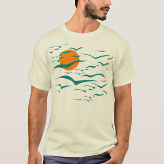 Flock Of Birds and Sunset T-Shirt