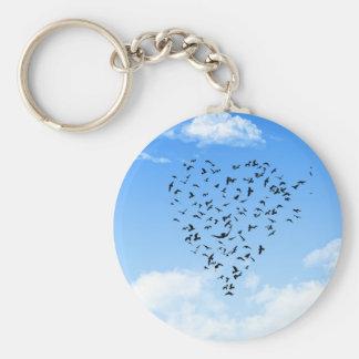 Flock of Birds Love Heart Keychains