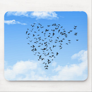 Flock of Birds Love Heart Mouse Pad