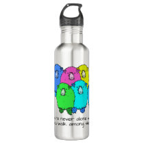 Flock of cartoon coloured sheep personalized stainless steel water bottle