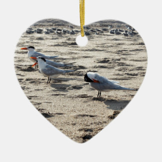 Flock of Caspian Tern Birds Ceramic Ornament