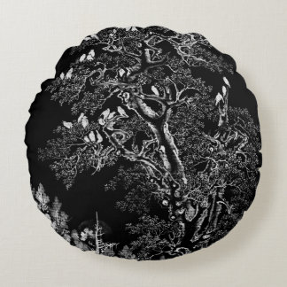 Flock of Crows at Dawn Round Pillow