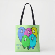 Flock of cute, fluffy, fun sheep with your name tote bag