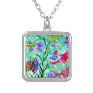 Flock of Fish Art Silver Plated Necklace