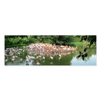 Flock of flamingo in water, mini bookmark business card template