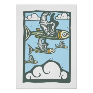 Flock of Flying Fish Poster