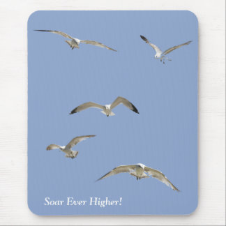 Flock of High-Flying Seagulls Mouse Pad
