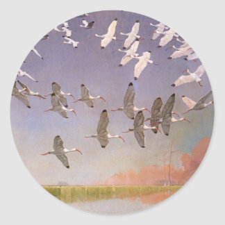 Flock of Ibis Flying Over Wetlands, Vintage Birds Classic Round Sticker