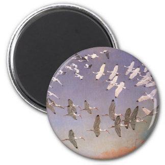 Flock of Ibis Flying Over Wetlands, Vintage Birds Magnet