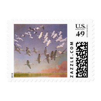 Flock of Ibis Flying Over Wetlands, Vintage Birds Stamp