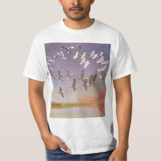 Flock of Ibis Flying Over Wetlands, Vintage Birds T-Shirt